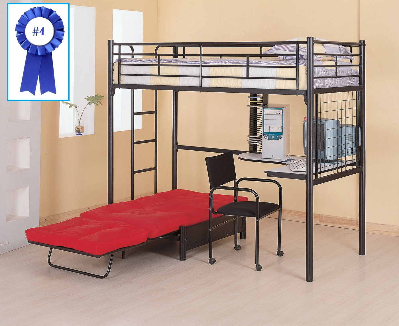 Bunk bed with desk for adults - Coaster Fine Furniture 2209 Metal Bunk Bed