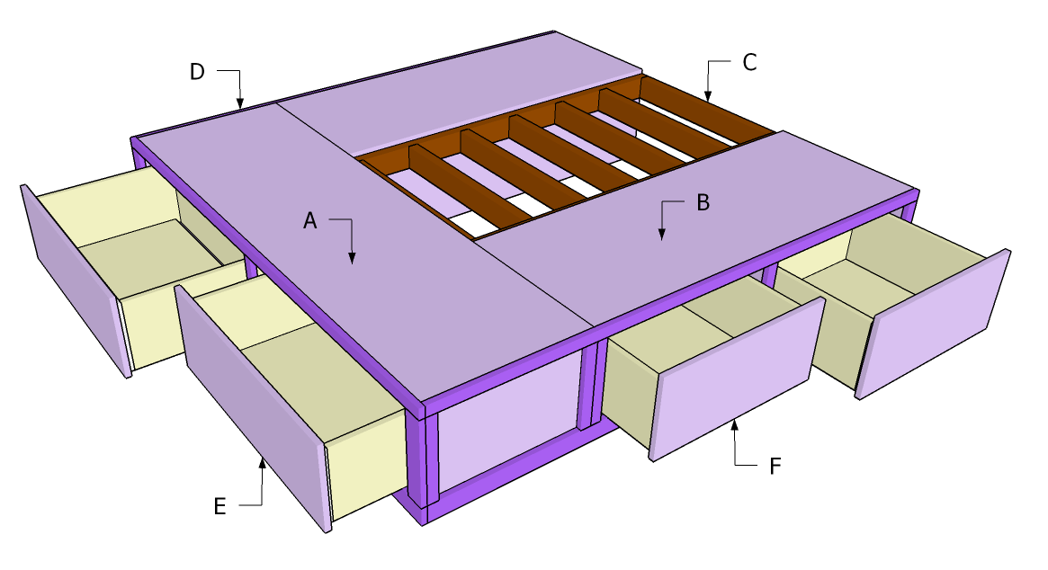 Bed frame with storage design